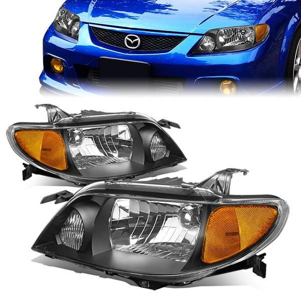 01 03 Mazda Protege Headlights Black Housing Amber Corner Mazda Protegé Mazda Headlights