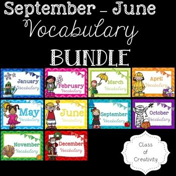 This GIANT bundle contains 10 sets of colourful vocabulary words which can be used as part of word wall display or as flashcards. The set includes over  170 words that can be used throughout the year as part of a monthly display or as flashcards!
