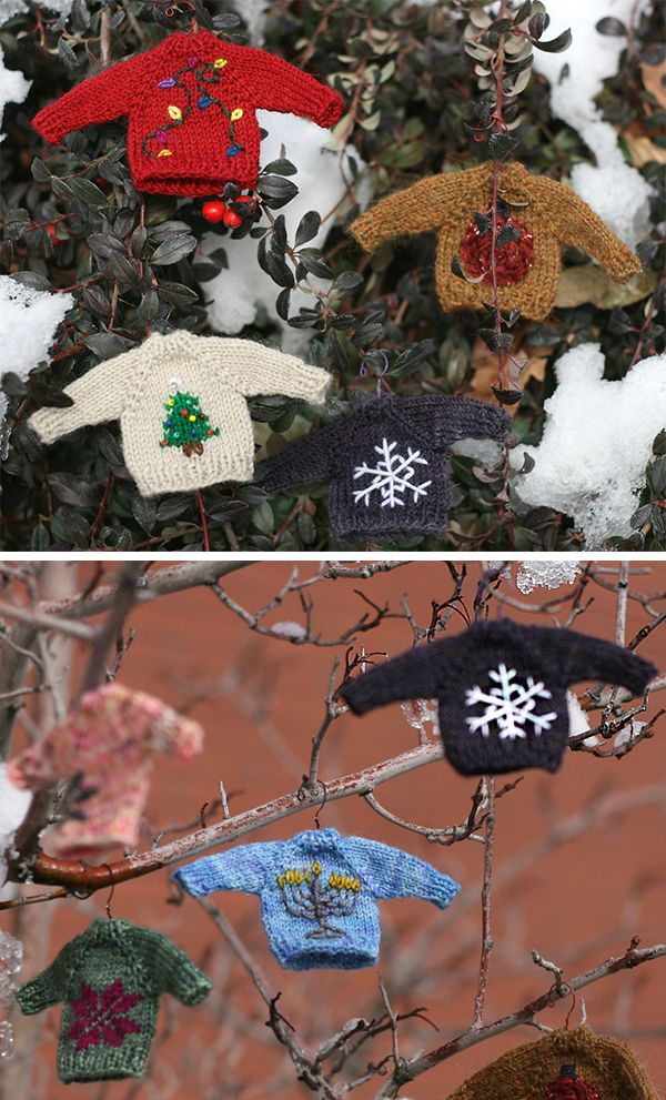 Free Knitting Pattern For Tiny Sweaters Ornaments Christmas Knitting Patterns Snowflake Embroidery Miniature Knitting