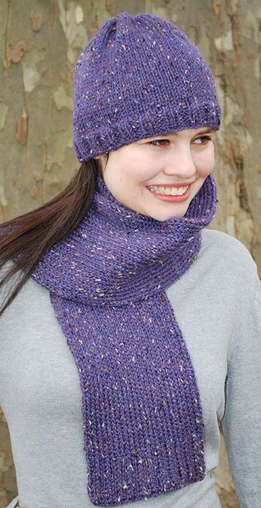 Mary Maxim - Basic Tweed Hat and Scarf Pattern - Free Patterns - Patterns