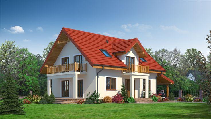 Zgrabny parterowy dom z poddaszem mieszkalnym i dobudowaną wiatą na samochód