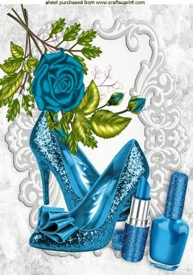 PRETTY TURQ SHOES AND MAKEUP WITH TURQ ROSES A4 on Craftsuprint - Add To Basket!