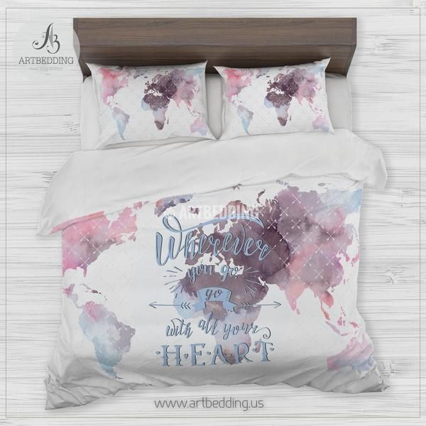 Mejores 33 imgenes de wanderlust watercolor abstract boho world map boho world map bedding watercolor map quote duvet cover set modern travel map comforter gumiabroncs Image collections