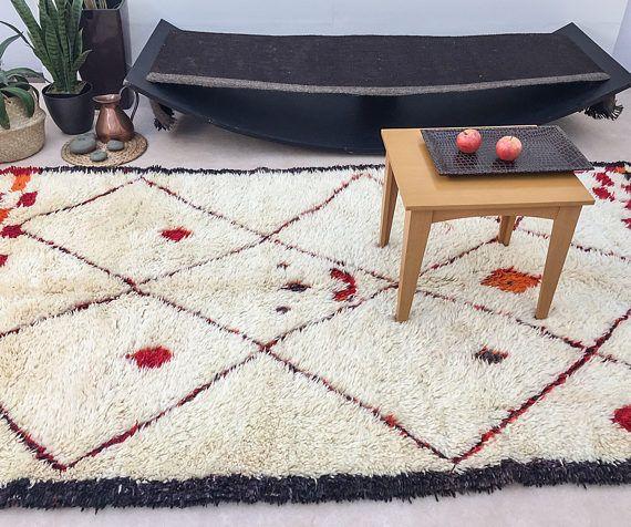 "Vintage Beni Ourain Rug, ""SPRING BROOK"", Moroccan Rug, Berber Rug, Mid Century Rug, Wool Rug, Bohemian, Scandinavian Decor"