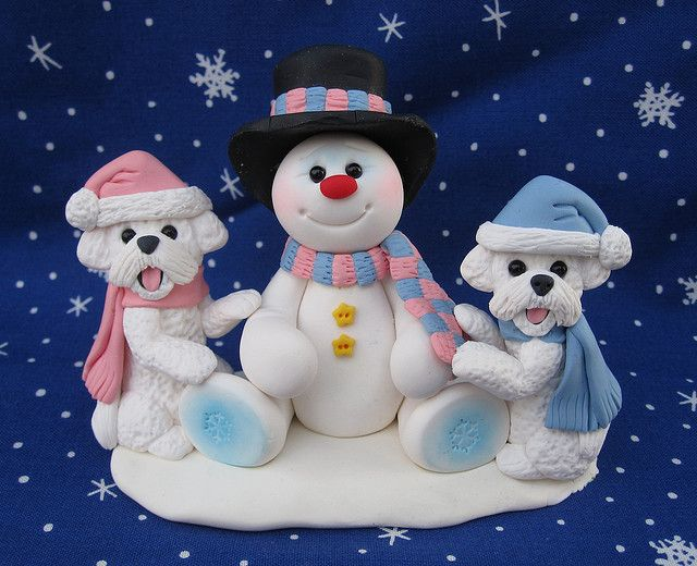 Snowman with Bichon Frise Dogs by designsbyginnybaker, via Flickr