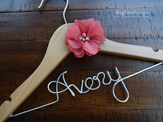 Infant/Baby Flower Girl Hanger, Wedding Hanger, Custom Name Hanger, Flower Girl Gift, Baby Shower Gift, Baptism Gift on Etsy, $22.00