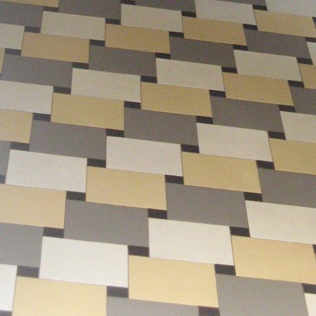 'Windmill' rectangle tiles in Winckelmans Pale Grey, Vanilla and Super White. www. mozaiek.com