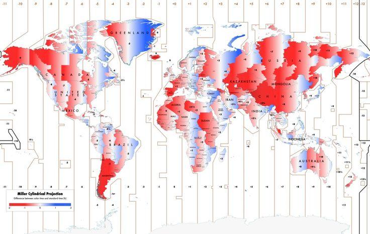 Diese Karte zeigt, wie sich die offizielle Zeit und die Sonnenzeit weltweit unterscheiden. | 18 Karten, die Deinen Blick auf die Welt verändern werden