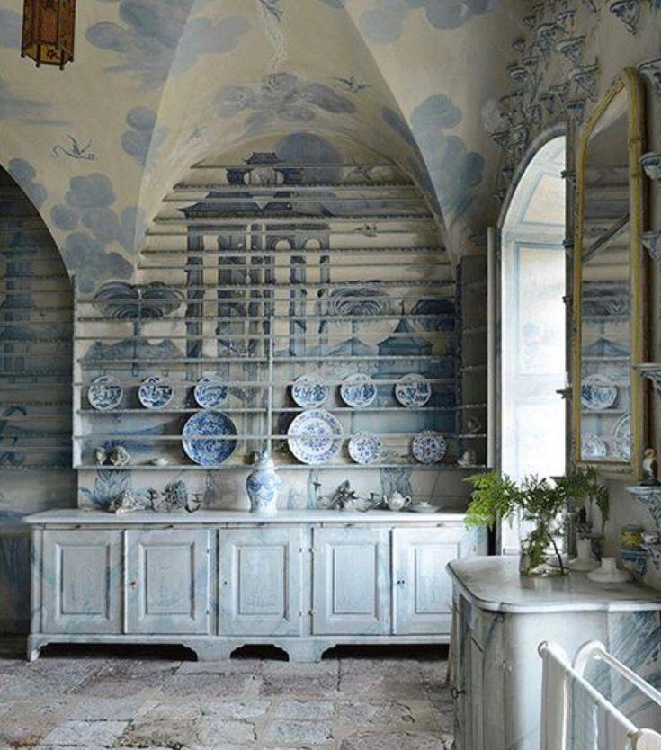 "1,341 Likes, 30 Comments - Debby Tenquist. (@botanicatrading) on Instagram: """"PORCELAIN"" KITCHEN, Thureholm Castle, Trosa, Sweden. 18th Century. Apparently this castle remains…"""