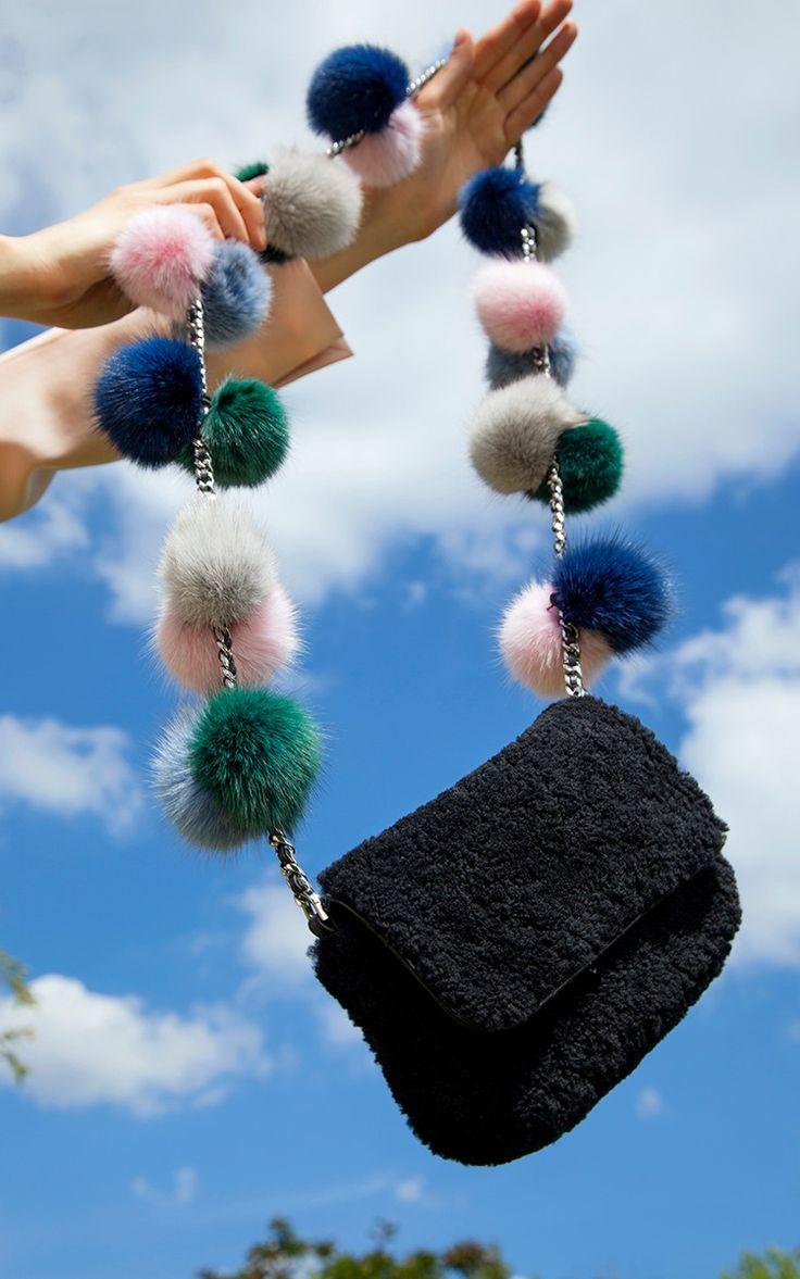 Fur Pom Pom Cross Body Bag by Charlotte Simone