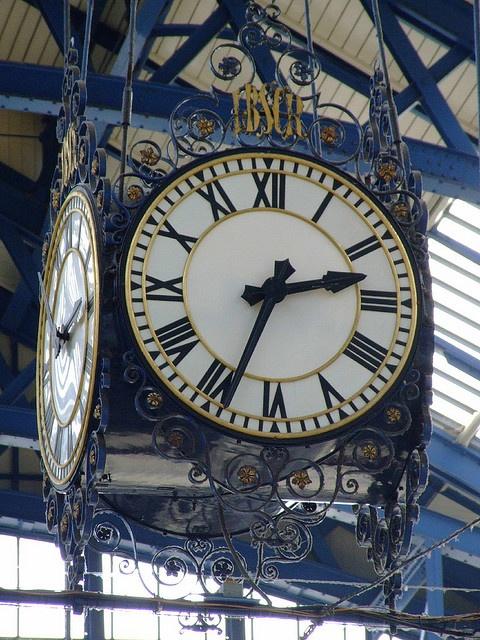 Clock, Brighton Station, Brighton, East Sussex.