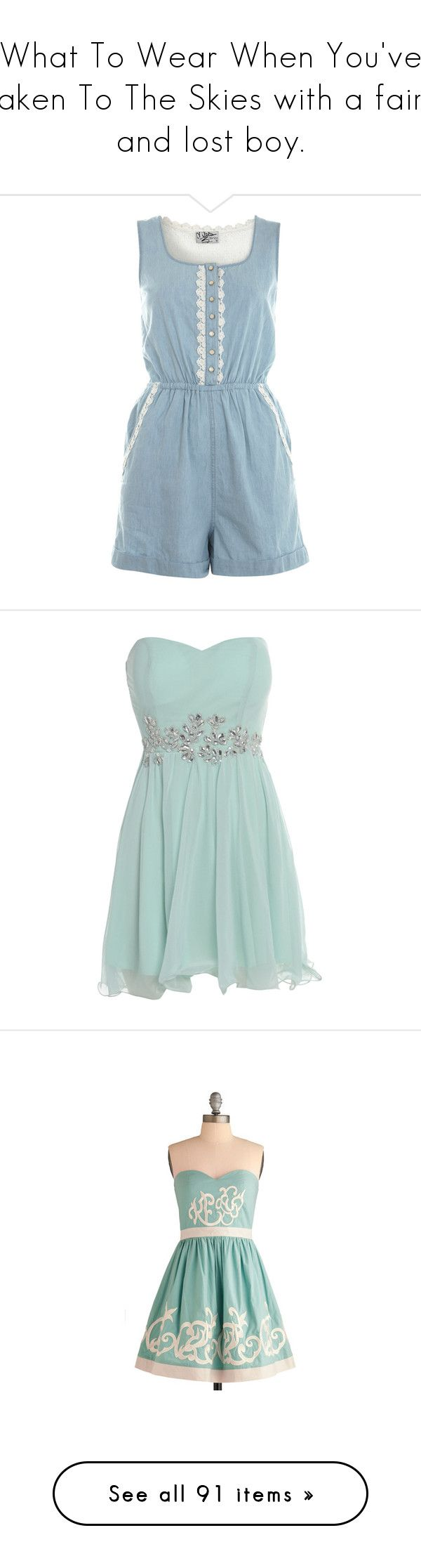 """""""What To Wear When You've Taken To The Skies with a fairy and lost boy."""" by nthemermaid ❤ liked on Polyvore featuring jumpsuits, rompers, dresses, playsuits, jumpsuit, denim, blue jumpsuit, playsuit romper, blue romper and romper jumpsuit"""