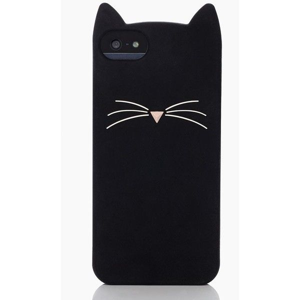 Kate Spade Black Cat Iphone 5 Case ($45) ❤ liked on Polyvore featuring accessories, tech accessories, phone cases, phones, iphone, cases and kate spade