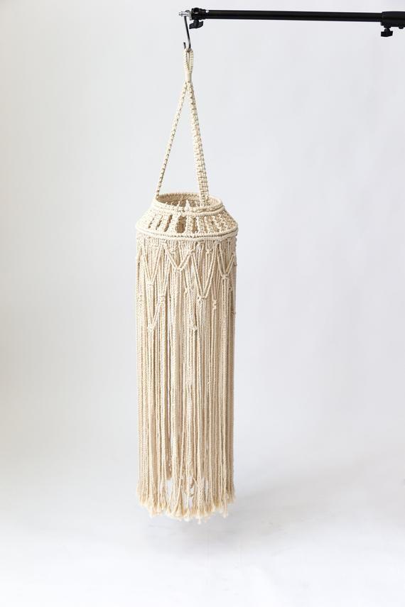 Macrame Moderne De Merveilleuse Abat Jour Lampe Macrame Etsy Modern Macrame Boho Decor Handmade Lamps