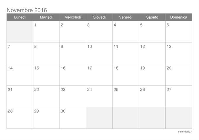 Calendario di novembre 2016