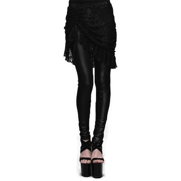 Devil Fashion Victorian Lace Tassel Skirts Leggings Gothic Women PU... ($36) ❤ liked on Polyvore featuring pants, leggings, gothic trousers, goth leggings, pu leather pants, tassel pants and legging pants