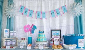 Beautiful Frozen girl birthday party dessert table and backdrop! See more party planning ideas at CatchMyParty.com!