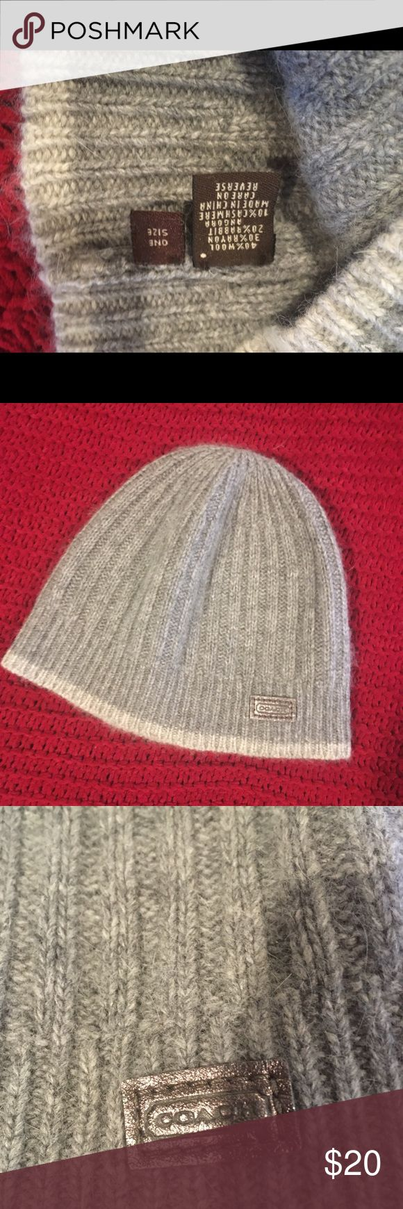 Coach Hat Worn 2 times, very warm Winter hat. Grey goes with anything! Coach Accessories Hats