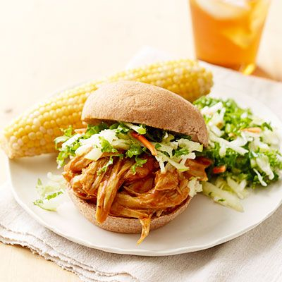 Backyard barbecue guests will flock to grab this pulled chicken sandwich.