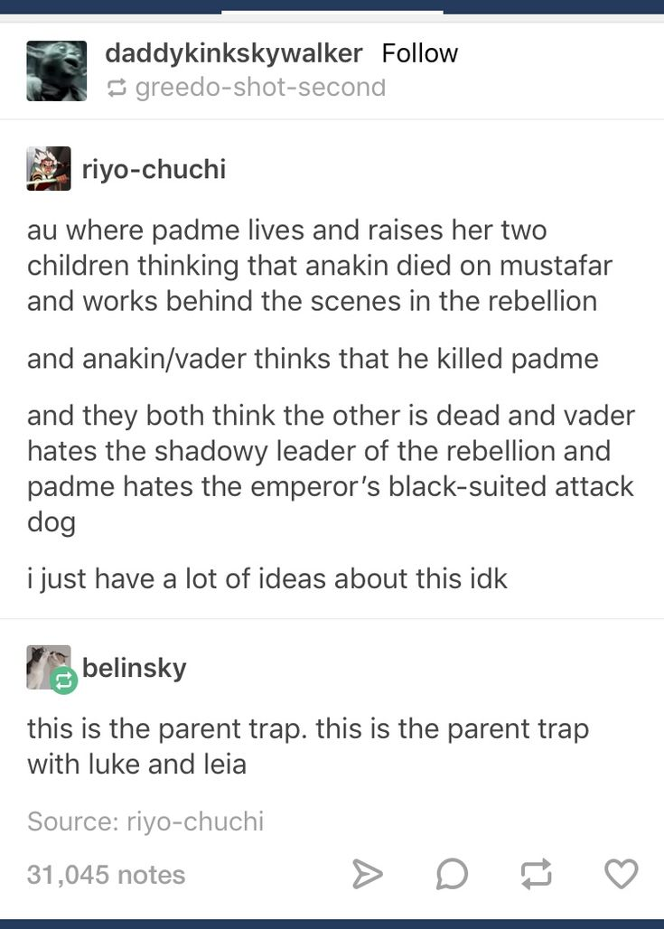 No if it's the parent trap then Vader somehow has one of the kids, but lol I would love to see this AU
