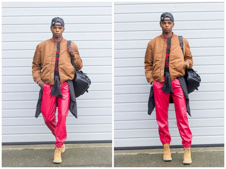 Red Leather Trousers And Rusty Brown Jacket