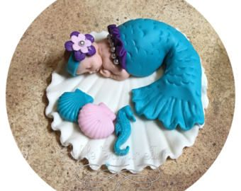 MERMAID BABY SHOWER fondant Cake Topper Under the sea Baby shower party Invitations Mermaid decorations party fondant cake topper mermaid