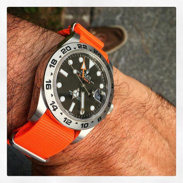"""""""#rolex #explorer #II #neon #nato #orange #wow #watch #watchporn #watches #wristporn #wristshot #wus #swissmade #wornandwound #natostrap #womw #watchgame"""""""