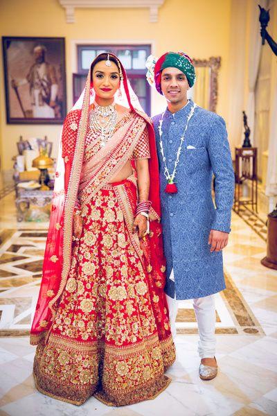 Bridal Lehegas - Red Bridal Lehenga | WedMeGood | Red Bridal Golden Embroidered Lehenga with Double Net Dupatta, Red and Pink, Diamond Set  #wedmegood #indianbride #indianwedding #red #gold #embroidery