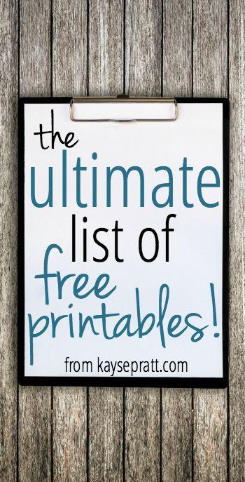 The Ultimate List of Free Printables! - Kayse Pratt