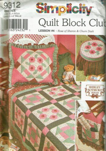 Simplicity 9312 Quilt Block Club Rose of Sharon & Churn Dash Stool Cover Bed Caddy Quilt from Ecrater seller lastadepatterns.com