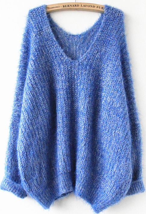Royal Blue Long Sleeve V Neck Oversize Mohair Sweater US$37.38