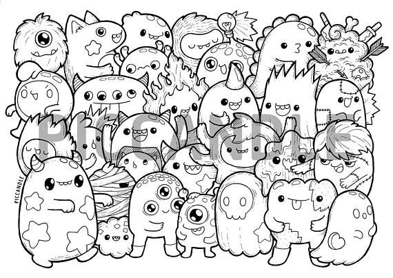 Monsters Doodle Coloring Page Printable Cute Kawaii Coloring Page For Kids And Adults Doodle Coloring Monster Coloring Pages Cute Doodles