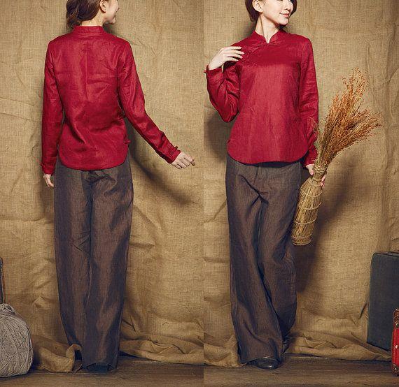 red tunic / linen winter shirt top / longsleeve por camelliatune