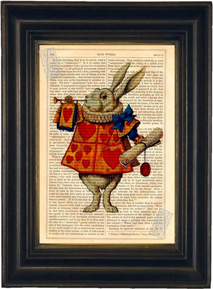 Alice White Rabbit  Print on upcycled vintage page by ForgottenPages on Etsy https://www.etsy.com/listing/150886072/alice-white-rabbit-print-on-upcycled