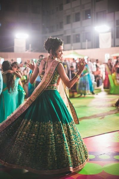 Sangeet Lehengas - Green Flare Lehenga | Green Flare Lehenga with Golden Embroidery and Light Pink Dupatta #wedmegood #indianbride #indianwedding #green #pink #gold