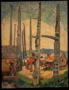 Artist Emily Carr, 'Totem Poles,Kitseukla' 1912 Medium: Oil
