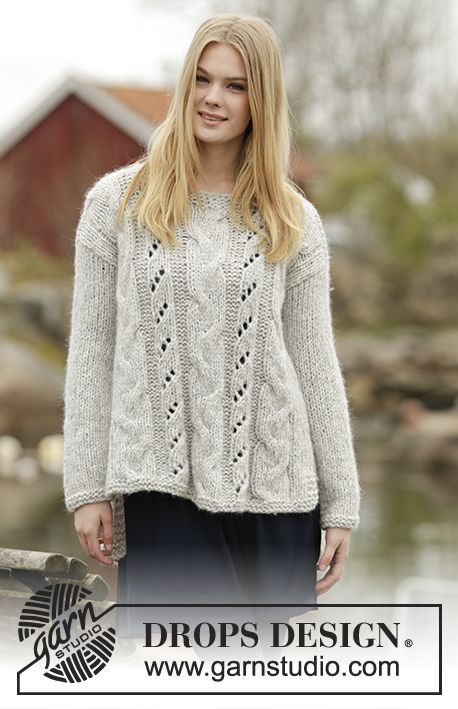 """Winter Sparkle - Knitted DROPS jumper with cables and lace pattern in """"Cloud"""". Size: S - XXXL. - Free pattern by DROPS Design #knitting"""