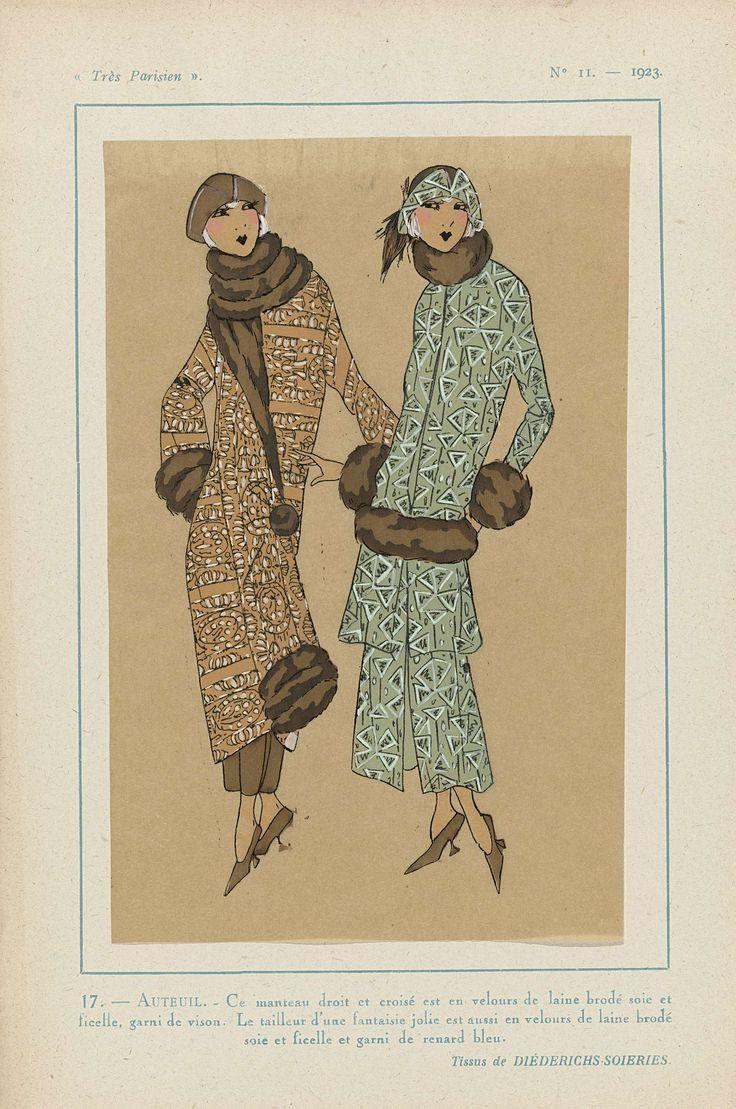 Anonymous | Très Parisien, 1923, No 11: 17.- AUTEUIL. - Ce manteau droit...., Anonymous, Diederichs-Soieries, G-P. Joumard, 1923 | Mantel, recht model met schuine sluiting, van 'velours de laine' geborduurd met zijde en 'ficelle', gegarneerd met nerts. Tailleur (mantelpak) ook van 'velours de laine' geborduurd met zijde en 'ficelle', gegarneerd met 'renard bleu' (vossenbont). Stoffen van Diéderichs-Soieries. Prent uit het modetijdschrift Très Parisien (1920-1936).