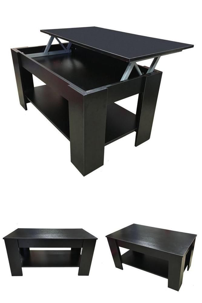 Coffee Table Black or Dark Walnut  Lift Up Top with Storage Black Home