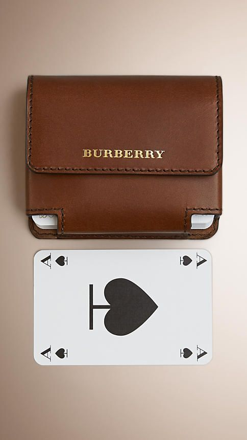 Brown ochre Sartorial Leather Playing Card Case - Image 1