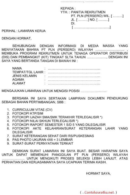 Contoh Surat Lamaran Kerja PT. PLN Persero yang Baik dan Benar Format Word  Doc