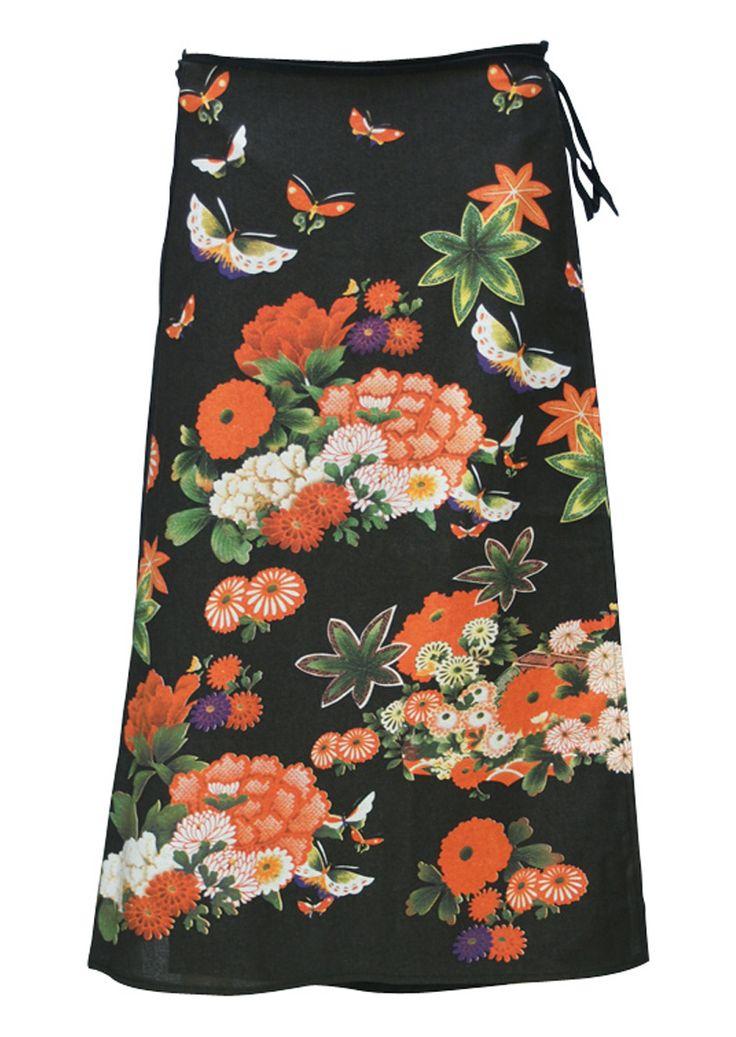 Art Wrap Skirt Black Flowers
