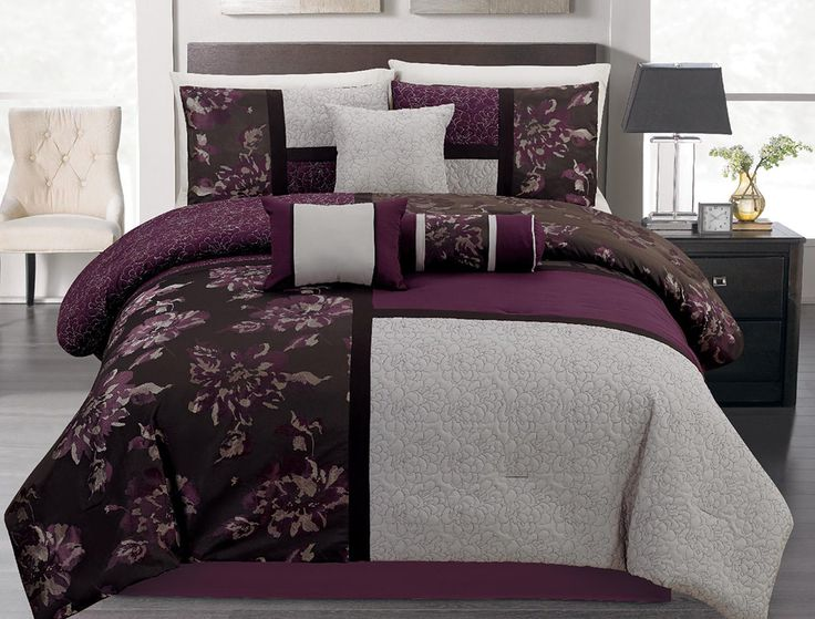 7 Piece King Plum And Gray Floral Block Quilted Comforter