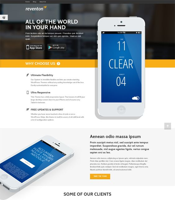 This WordPress theme for promoting apps has a responsive layout, over 600 Google Fonts, animated content, over 1400 icons, unlimited sidebars and colors, SEO-friendly code, 2 sliders, 50+ shortcodes, and more.