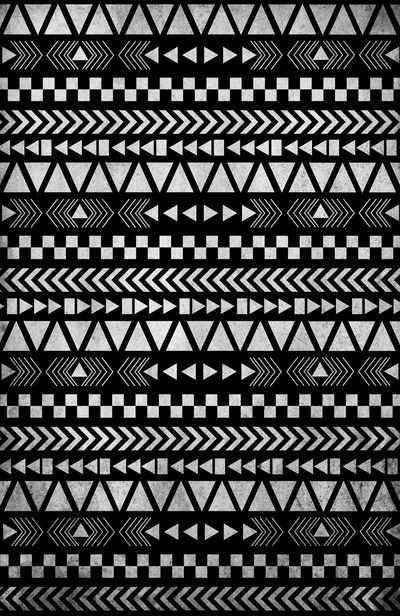 Tribal print in black and white art print