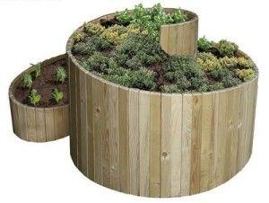 Kräuterspirale aus Holzbrettern Doch auch die Modelle aus Holz halten bei guter…