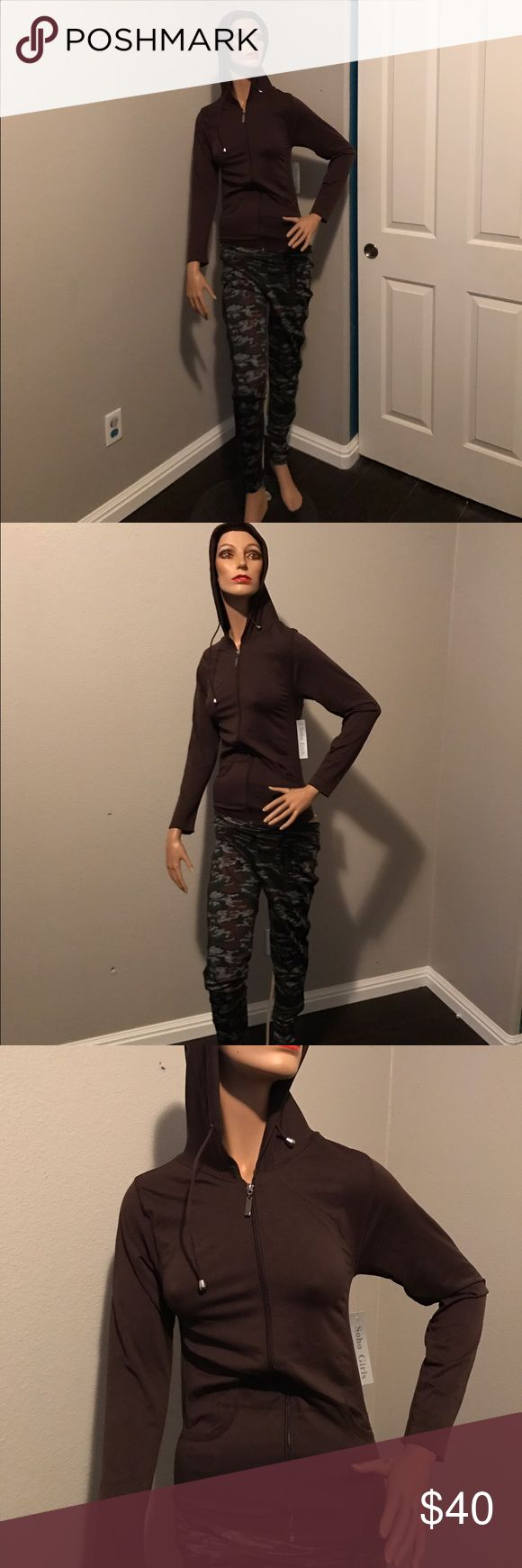 Active Wear set Brown zip up hoodie jacket one size fits all with Army style leggings XL in size very stretchy 👌👖😃 Pants Jumpsuits & Rompers