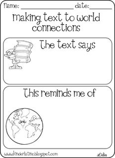free printable for Text to World Connections. It comes in English and Spanish.