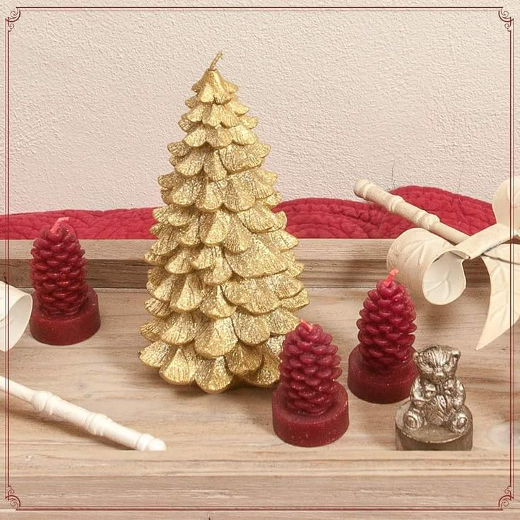 Golden Christmas Tree Candles with sparkling red pine tree acorns!