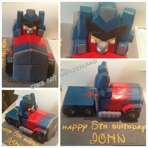 My challenge this week was to create an Angry Bird Transformer cake from a cartoon picture given to me. It was for 5yr old John who had his mind set on this. Carved from Choc mud. Angry bird head was carved from foam. Love the result!